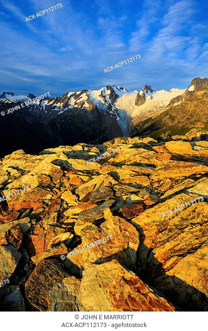 View of the Bugaboos at sunrise, Snowpatch Spire and Bugaboo Glacier