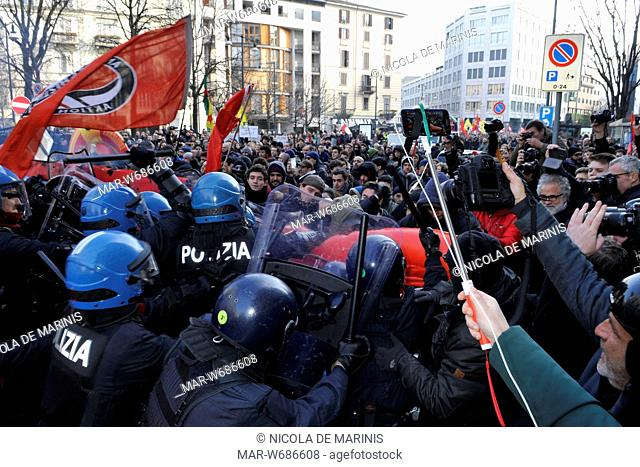 scontri con la polizia, manifestazione antifascista, milano 24 febbraio 2018