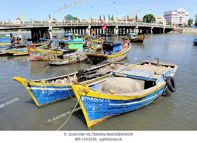 Fishing boats in the harbour of Phan Thiet, South Vietnam, Southeast Asia