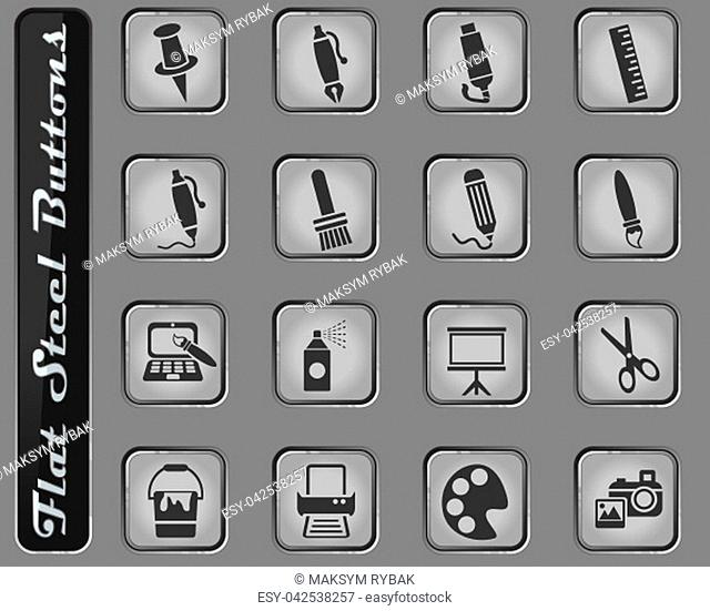 art tools web icons on the flat steel buttons