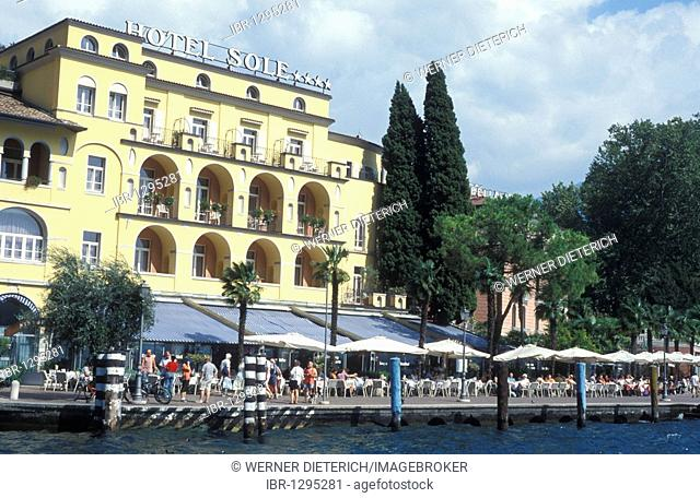 Hotel Sole, on the waterfront at Riva, Lake Garda, Italy, Europe