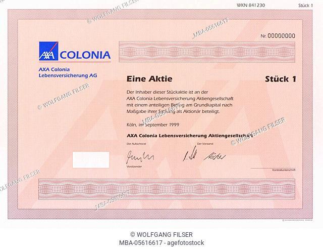 Stock of the company AXA Colonia