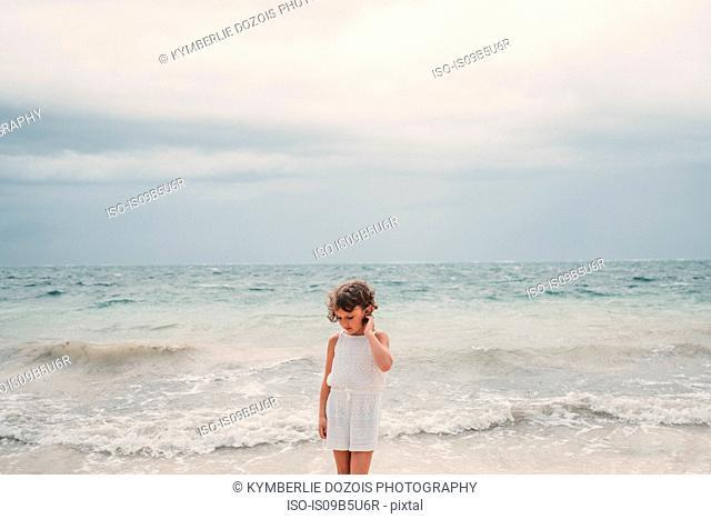 Girl on beach, Cancun, Mexico
