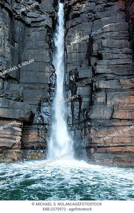 The sandstone cliffs of the King George River and Falls, Koolama Bay, Kimberley, Western Australia, Australia