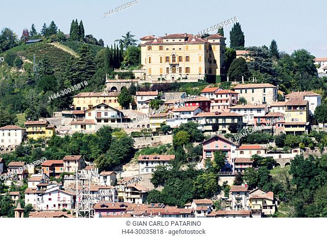 Italy, panorama of vineyards of Piedmont Langhe-Roero and Monferrato on the World Heritage List UNESCO. View of Canelli Italy, Piedmont, Vineyards