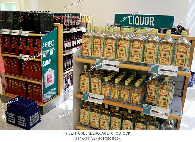 Duty free shopping, liquor, alcohol, gin. Orlando Airport. Florida. USA