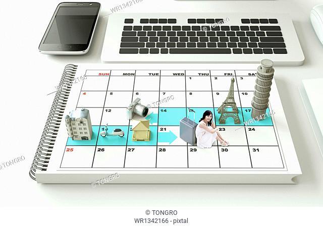 European sights on a calendar