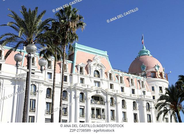 Negresco hotel, located at the heart of the Cote d'Azur along Promenade des Anglais on September 19, 2015 in France