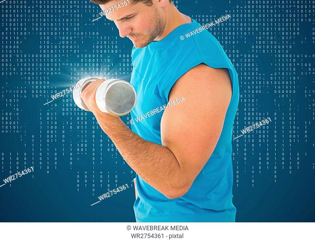 Man weightlifting with flare against blue background with white binary code