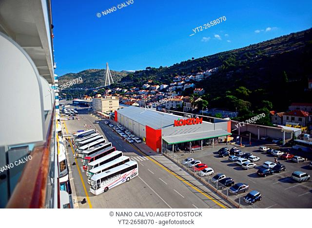 View of Konzum store and port parking from cruise ship, Dubrovnik, Croatia