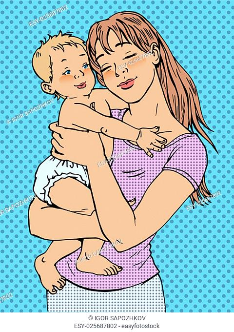 Mom woman with a baby in her arms. Modern joyful girl