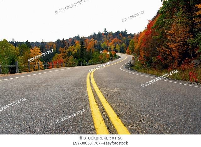 Fall scenic highway in northern Ontario, Canada