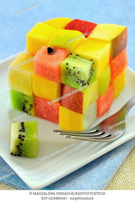 Fresh rubik cube fruit salad