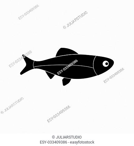 Fresh raw fish black simple icon isolated on white background