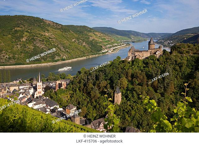 Paddle wheel steamer Goethe at the Rhine river, view from the vineyards to Bacharach with Stahleck castle, Rhine river, Rhineland-Palatinate, Germany