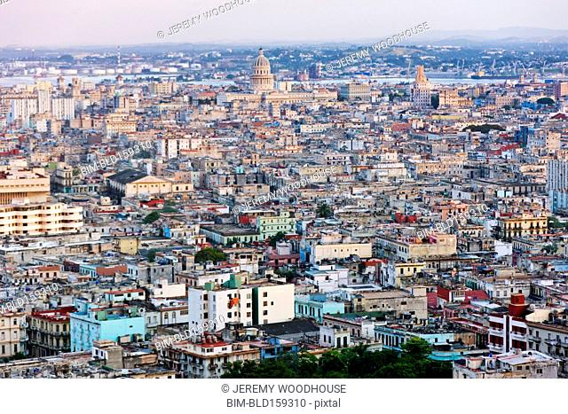 Aerial view of Havana cityscape, Havana, Cuba