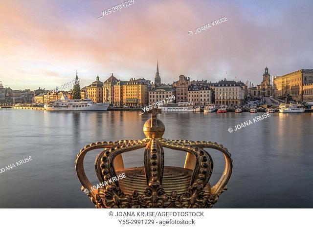 Gilded Crown on Skeppsholmsbron, Stockholm, Sweden, Europe