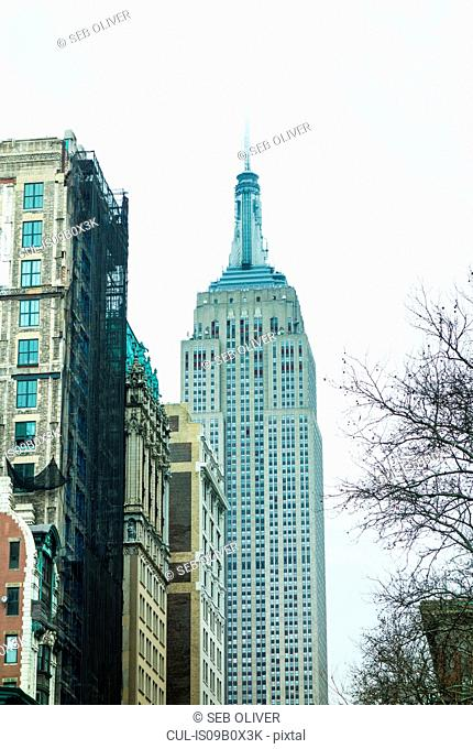 Low angle view of empire state building, New York, USA
