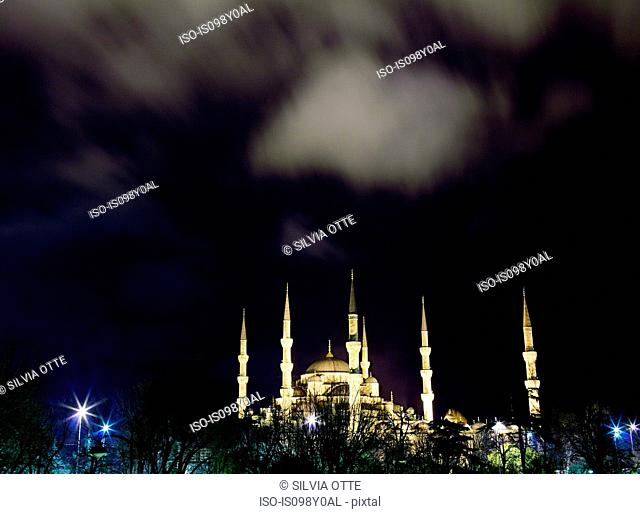 Sultan Ahmed mosque at night, Istanbul, Turkey