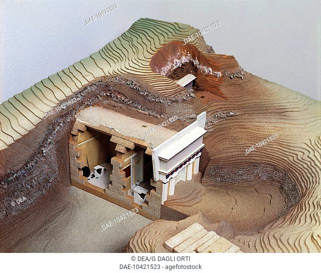 Plastic models of the Vergina royal tombs. Reconstruction of the necropolis area with a cross-section of a Macedonian tomb