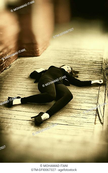 Dead woman on the floor