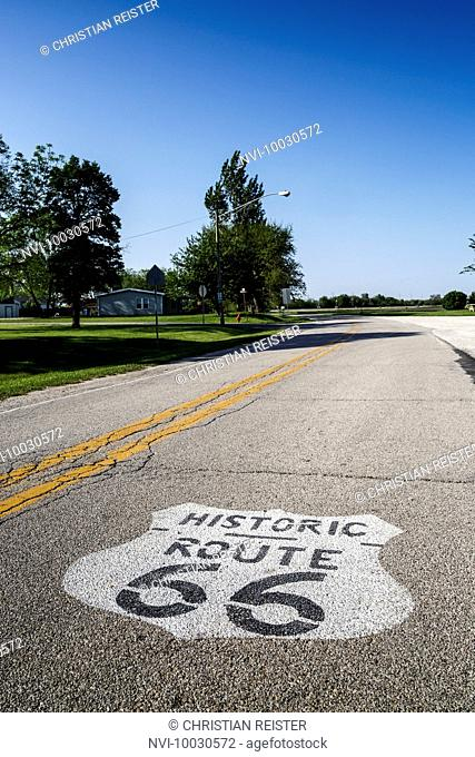 Historic Route 66, Odell, Illinois, USA