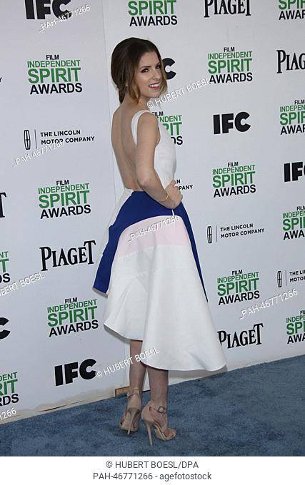 Actress Anna Kendrick attends the Film Independent Spirit Awards at Santa Monica Beach in Los Angeles, USA, on 01 March 2014