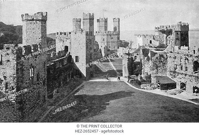 'Carnavon Castle', 1903. From Social England, Volume II, edited by H.D. Traill, D.C.L. and J. S. Mann, M.A. [Cassell and Company, Limited, London, Paris