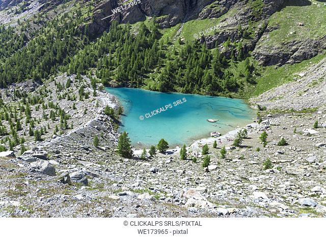 The green water of the Blu Lake at the foot of Monte Rosa Massif in Ayas Valley (Champoluc, Ayas Valley, Aosta province, Aosta Valley, Italy, Europe)