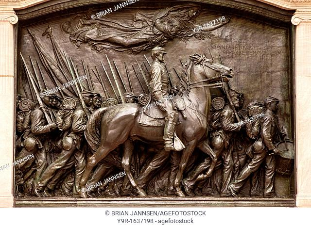 Memorial sculpture honoring the famous 54th regiment from Massachusetts who fought during the American civil war - Boston USA