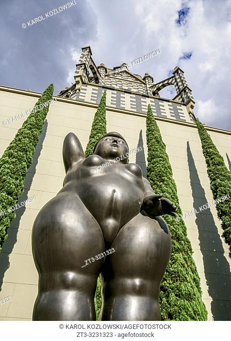 Sculpture by Fernando Botero and Rafael Uribe Uribe Palace of Culture, Plaza Botero, Medellin, Antioquia Department, Colombia