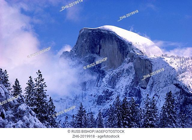 Fresh powder on Half Dome after a winter storm, Yosemite National Park, California USA