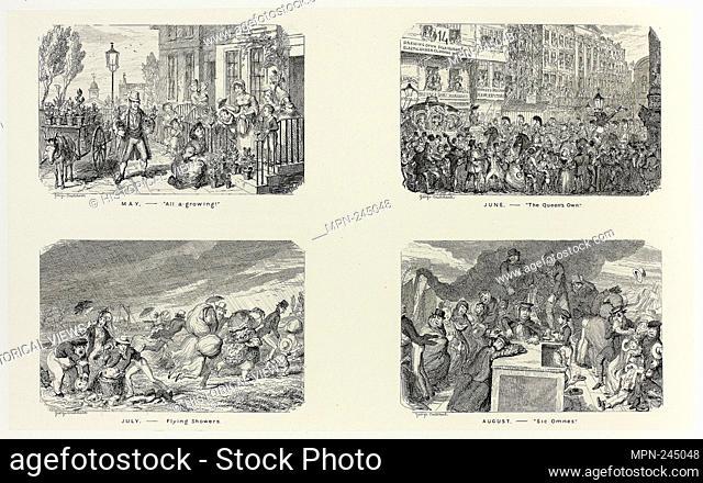 "May – """"All A Growing!"""" from George Cruikshank's Steel Etchings to The Comic Almanacks: 1835-1853 (top left) - 1838, printed c"