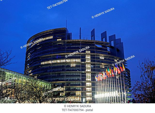 European Parliament at night