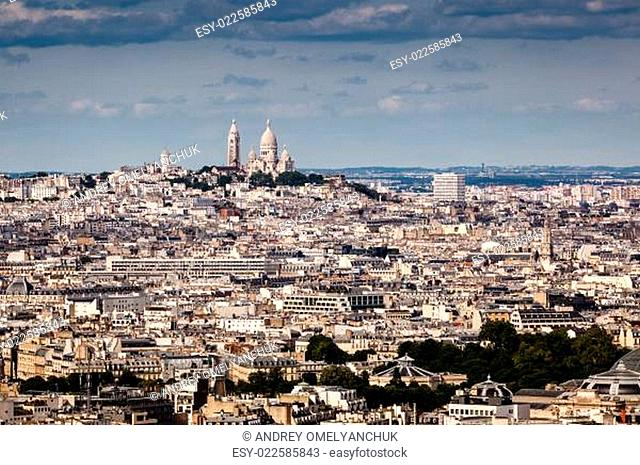 Aerial View on Montmartre Hill and Sacre-Coeur Church, Paris, France