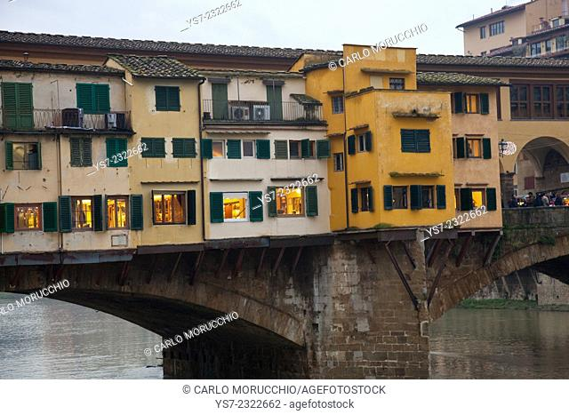 Shops on Ponte Vecchio, Old Bridge, Arno river, Florence, Italy, Europe