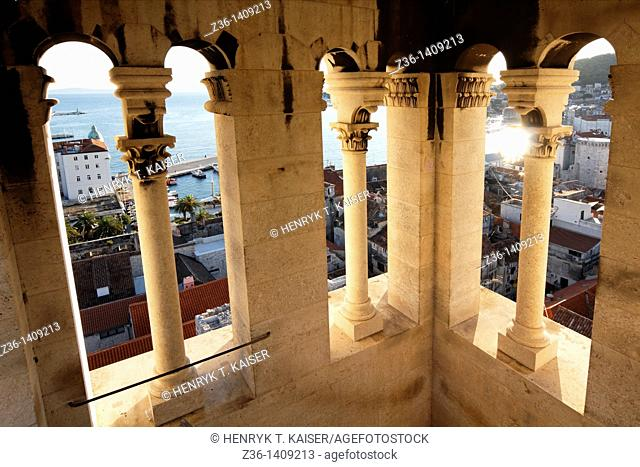 View over Split from the St Dominus Cathedral, Croatia, Europe
