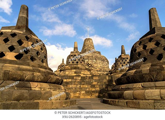 stupas at the 9th-century Mahayana Buddhist Temple Borobudur near Yogyakarta, Central Java, Indonesia, Asia