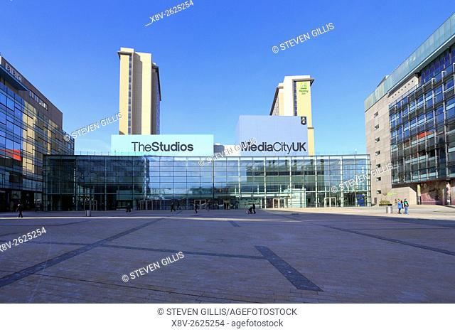 BBC buildings and The Studios, MediaCityUK, Salford Quays, Manchester, Lancashire, England, UK