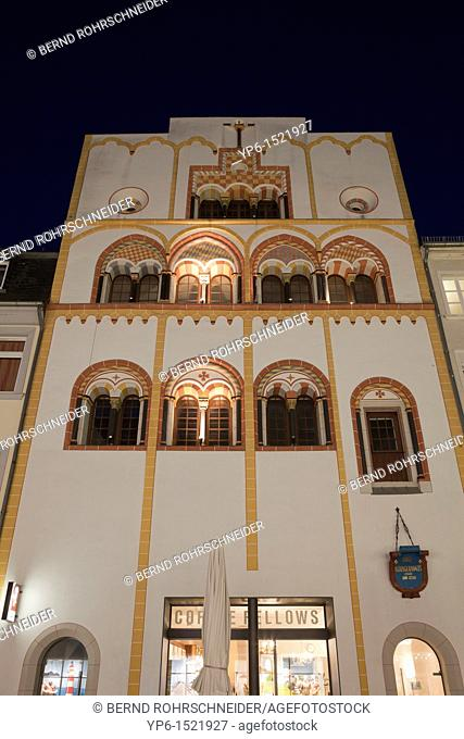House of the three Magi at night, medieval builing, Trier, Germany