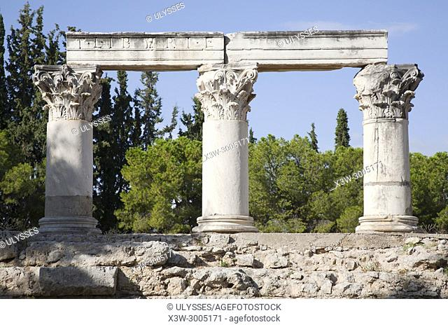 Europe, Greece, Peloponnese, ancient Corinth, archaeological site, Temple E