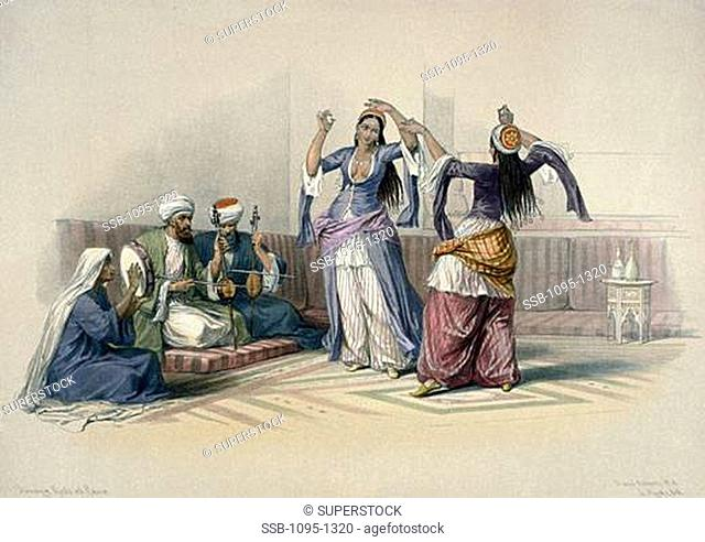 Ghawazees, Or Dancing Girls of Cairo, from Egypt and Nubia by David Roberts, 1846-1849