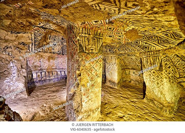 Hypogeum, tombs of Alto de Segovia which also contains many hypogea, UNESCO world heritge site, National Archeological Park of Tierradentro, Inza, Colombia