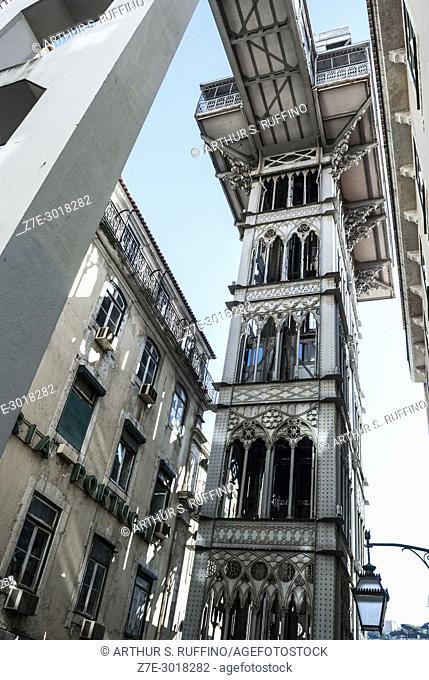 Santa Justa Elevator (Elevador de Santa Justa), Baixa district, Lisbon, Portugal, Europe