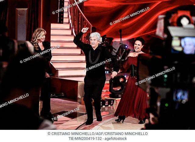 Milly Carlucci, Antonio Razzi at the tv show Ballando con le stelle (Dancing with the stars) Rome, ITALY-20-04-2019