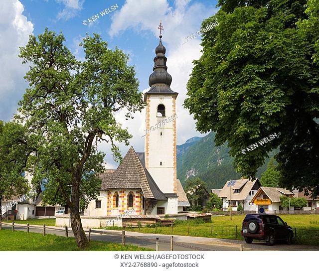 Stara Fuzina, Triglav National Park, Upper Carniola, Slovenia. Medieval church of Sv. Pavel, or St. Paul