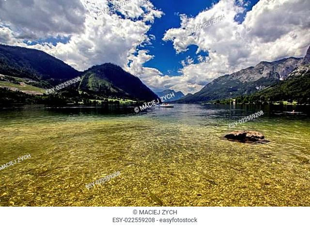 Austria Grundlsee lake panorama