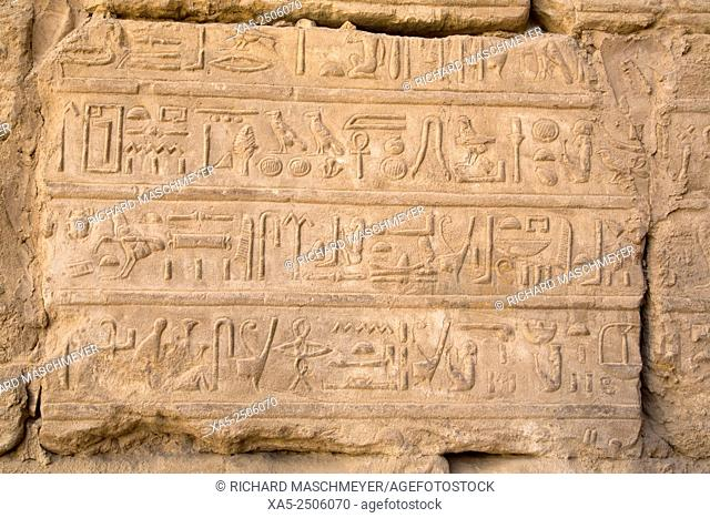 Hieroglyphics at the Entrance to the Temple of Ramses III, Karnak Temple, Luxor, Egypt