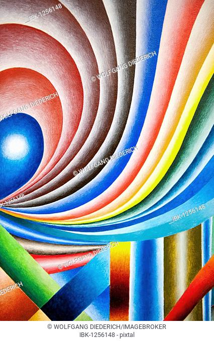 Colorful geometric composition in acrylics, artist Gerhard Kraus, Kriftel, Germany