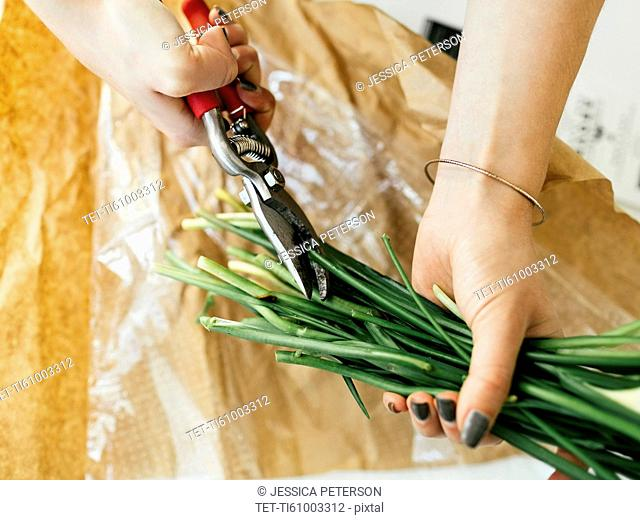 Woman cutting flower stems